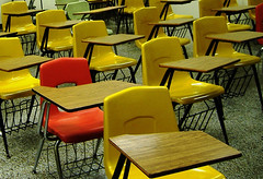 Photo: empty school desks