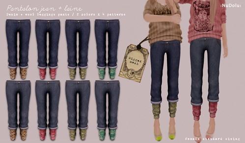 NuDoLu Pantalon jean + laine AD