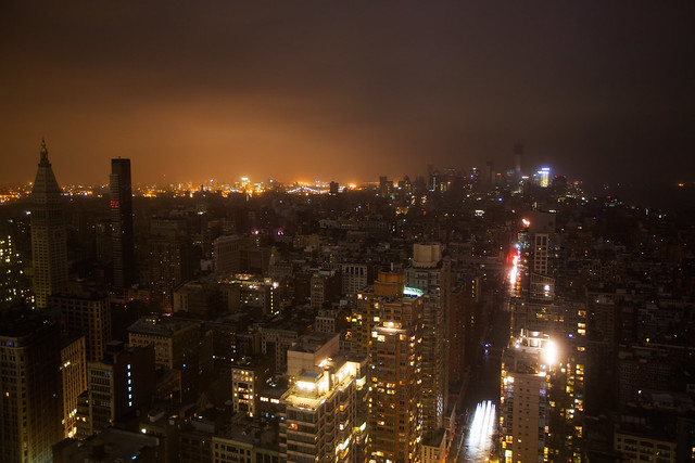 Hurricane Sandy power outage in Lower Manhattan, New York