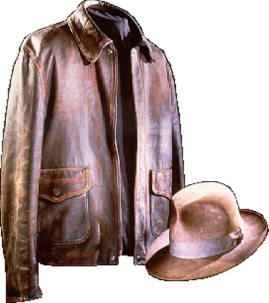 ... Genuine Smithsonian Leather Jacket and Fedora worn by Indiana Jones™ in  Raiders of the Lost 1346f098a78