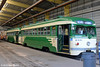 MUNI F-LINE CARS--1008, 1006 at Geneva Yard Historic Car Enclosure by milantram
