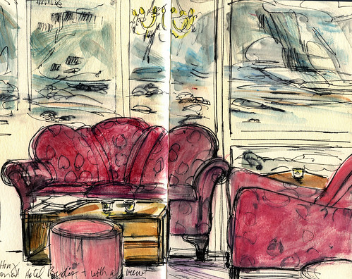 Iceland sketches: Hotel Budir interior with view