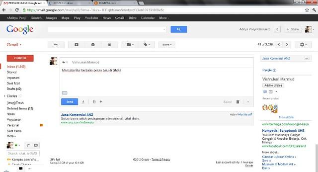Tampilan membalas pesan di GMail