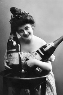 1890s-era lady grinning, holding a giant bottle of champagne in each hand