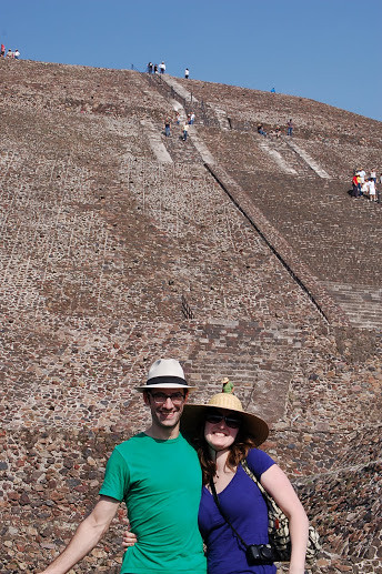 Visiting the Teotihuacan Pyramids in Mexico with my husband, Erik