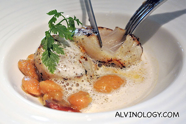 The scallop is lightly cooked to keep the soft texture