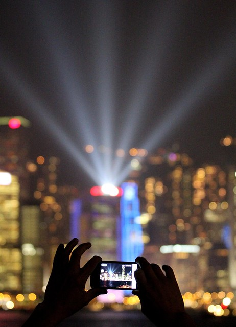 mobile phone photography - Night laser lightshow Hong Kong harbour
