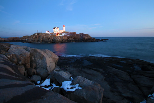 Nubble Light with Christmas lights by nelights