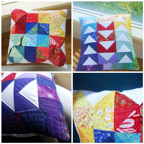 Rainbow Patchwork Quilted Pillow
