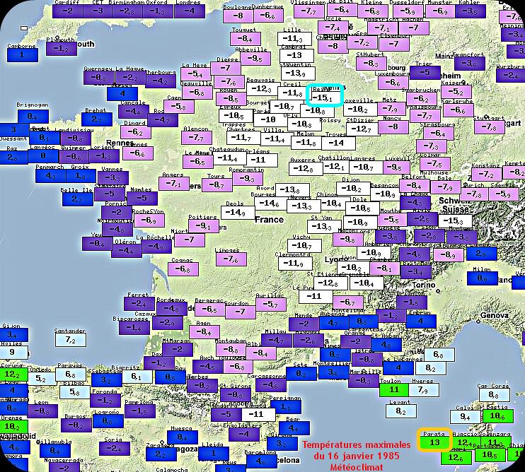 températures maximales glaciales lors de la journée sans dégel ou avec gel permamnent du 16 janvier 1985 météopassion