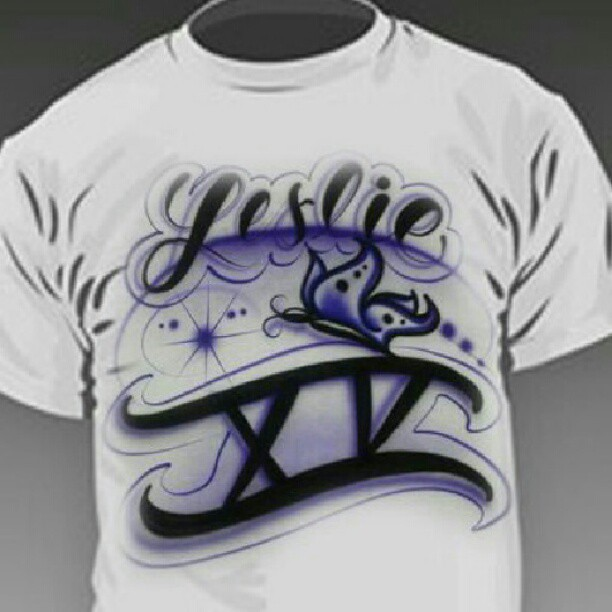 Custom airbrushed quincea eras t shirts for all the party for Custom made airbrushed shirts