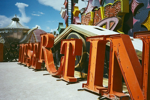 Desert In(n) sign at the Neon Boneyard, Las Vegas