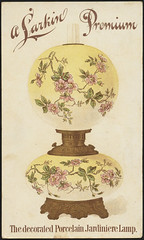 A Larkin premium - the decorated porcelain jardiniere lamp [front]