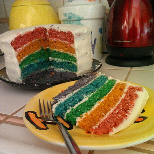 Rainbow cake on a random Tuesday: that's how I roll.