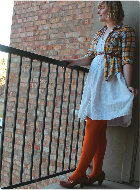 Plaid shirt and a white dress with bright tights