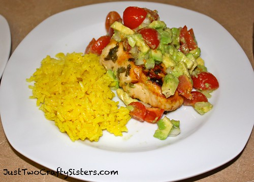 Avocado Tomato Cilantro Chicken with Saffron Rice