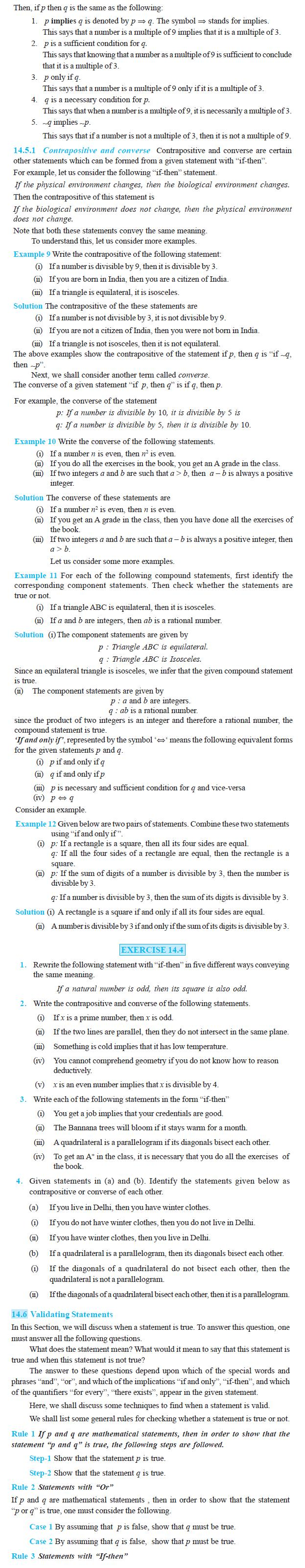 NCERT Class XI Mathematics Chapter 14 – Mathematical Reasoning