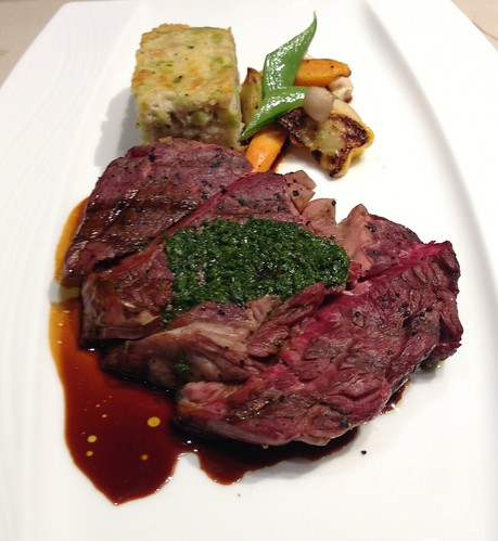 Grilled Basque Wagyu Striploin with Leek Bread Pudding & Roasted Sesame-Coriander Vegetables