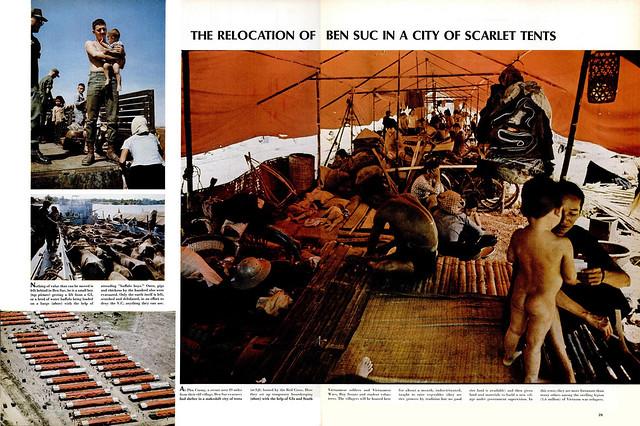 LIFE Magazine Jan 27, 1967 (6) - THE RELOCATION OF BEN SUC IN A CITY OF SCARLET TENTS - Tái định cư dân làng Bến Súc trong một thành phố lều màu đỏ tươi