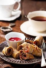 Brain  pancakes with plum jam