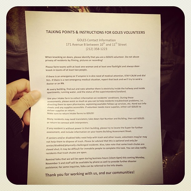 Instructions for #Sandy recovery volunteers at GOLES in #alphabetcity #nyc