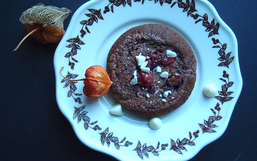 Brownie Cookies with Melted White Chocolate Condensed Milk Sauce +Cranberries