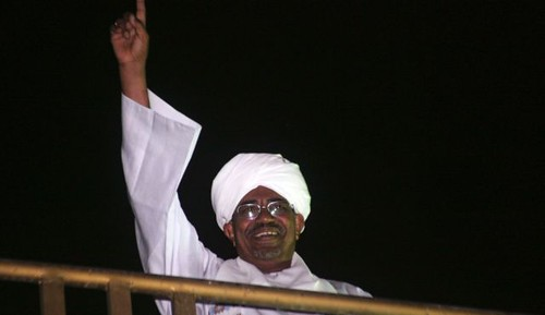 Republic of Sudan President Omar Hassan al-Bashir waves at anti-Israeli demonstrators in the capital of Khartoum. Sudan was bombed by the State of Israel. by Pan-African News Wire File Photos