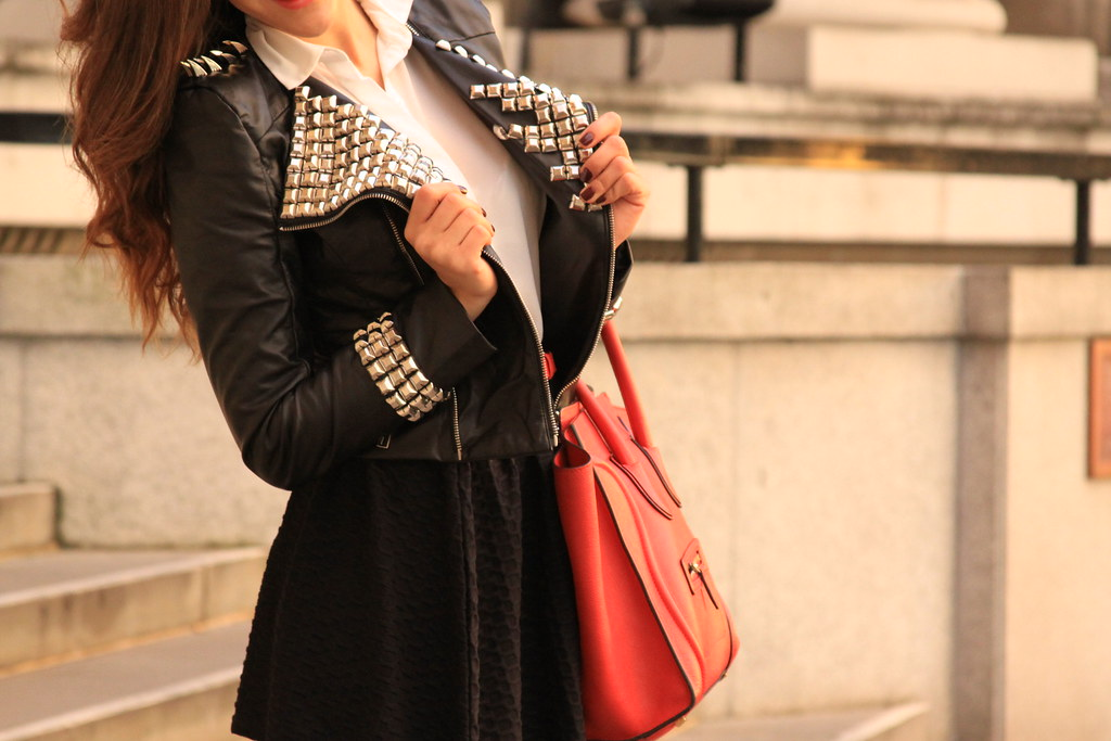 leather jacket with details,