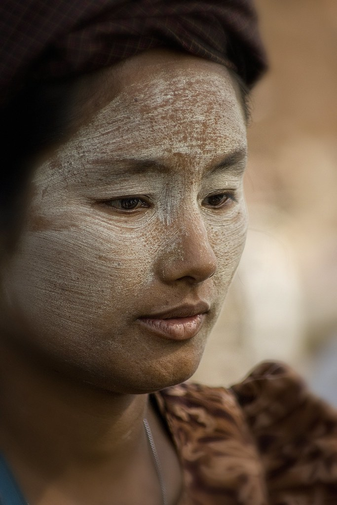 A Burmese Lady Wearing Thanaka