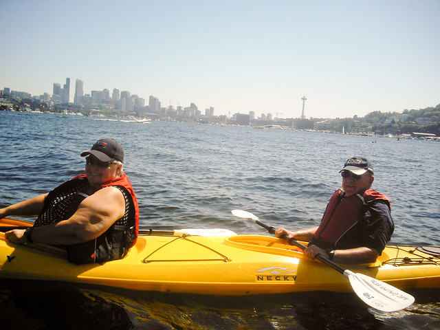 Mom and Dad, kayaking in Lake Union