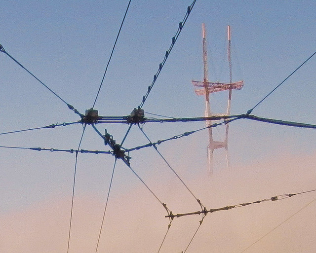 fog at mount Sutro and Muni cables POV Stanyan St, morning; The Haight, San Francisco (2012)