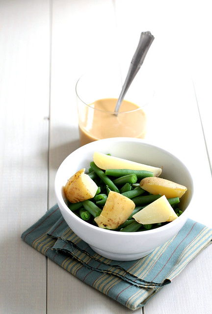 Green beans, potato and tahini sauce