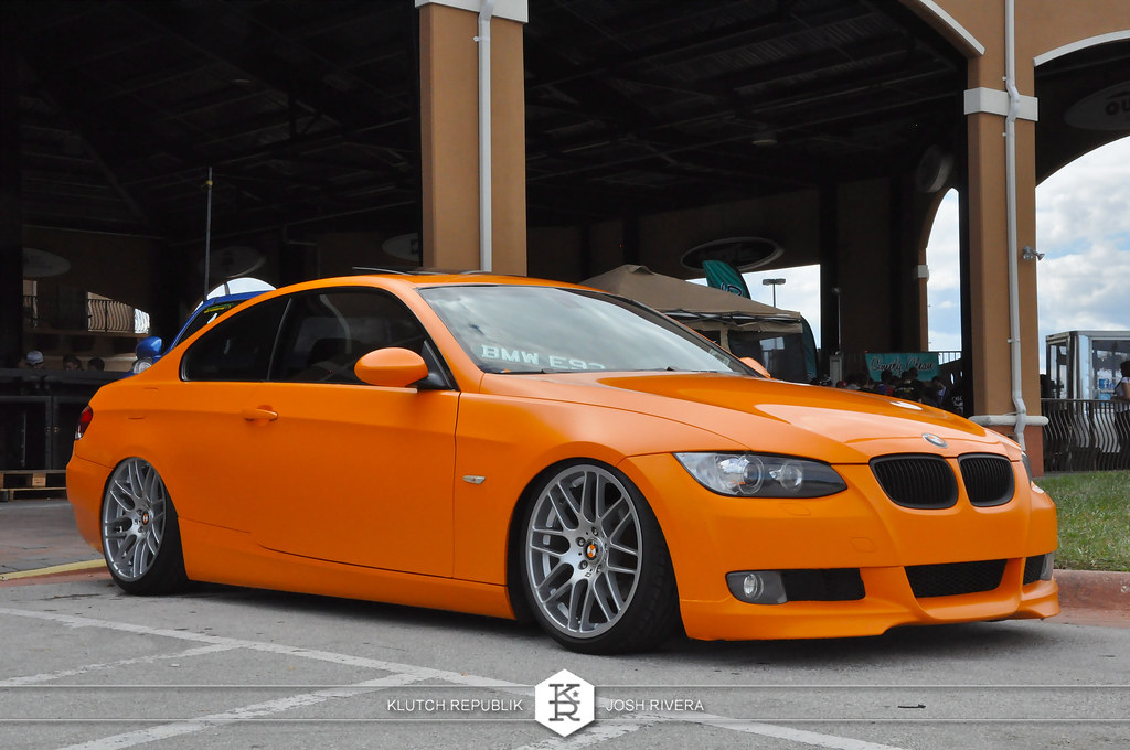 orange bmw e92 couple shot at simple clean 4 in florida 3pc wheels static airride low slammed coilovers stance stanced hellaflush poke tuck negative postive camber fitment fitted tire stretch laid out hard parked seen on klutch republik