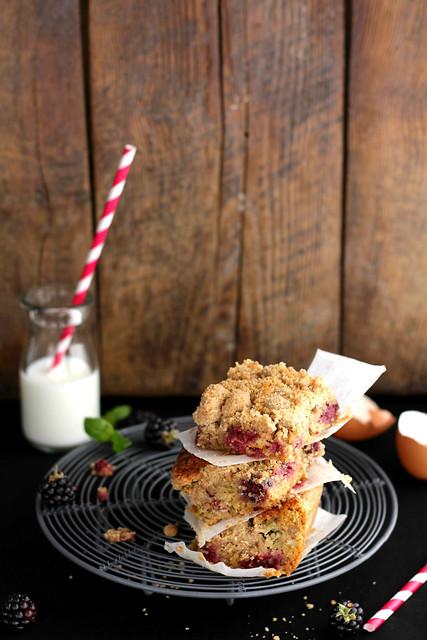 Rhubarb blackberry crumb cake