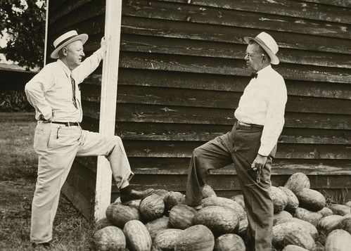 Dr. Hugh Hammond Bennett (left) and Mr. Roach Stewart of Duke Power Company attend a picnic for tenant farmers of the Duke Power Company near Mooresville, N.C.