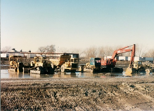 Construction of the CTA orange line to Midway Airport.  Chicago Illinois.  January 1990. by Eddie from Chicago