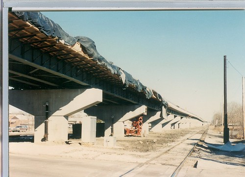 Construction of the CTA orange line rapid transit to Midway Airport.  Chicago Illinois.  January 1990. by Eddie from Chicago