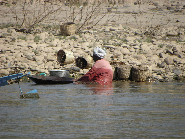 Locals on the edge of the Mekong