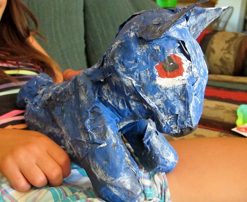 R's Papier Mach Blue Dog up-close