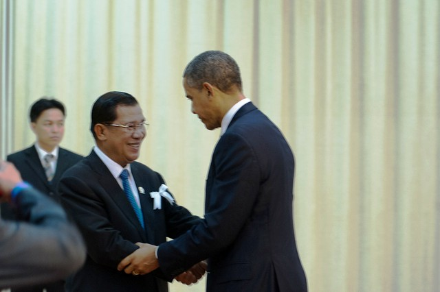 President Obama Is Greeted By Cambodian Prime Minister Hun Sen
