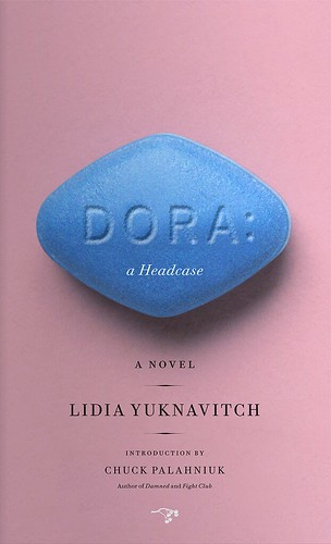 cover of Dora: A Headcase, picturing a large blue pill