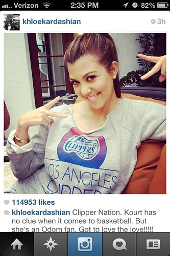 Kourtney Kardashian in LA Clippers Sweatshirt By Sportiqe Apparel