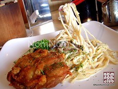 Chicken Chop Cream Sauce Spaghetti