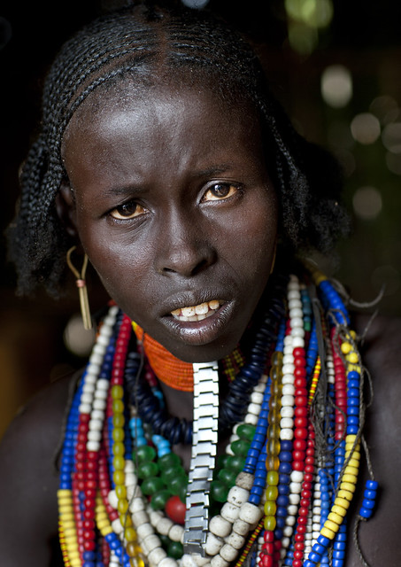 Portrait Of Erbore Woman Wearing Beaded Necklace Ethiopia