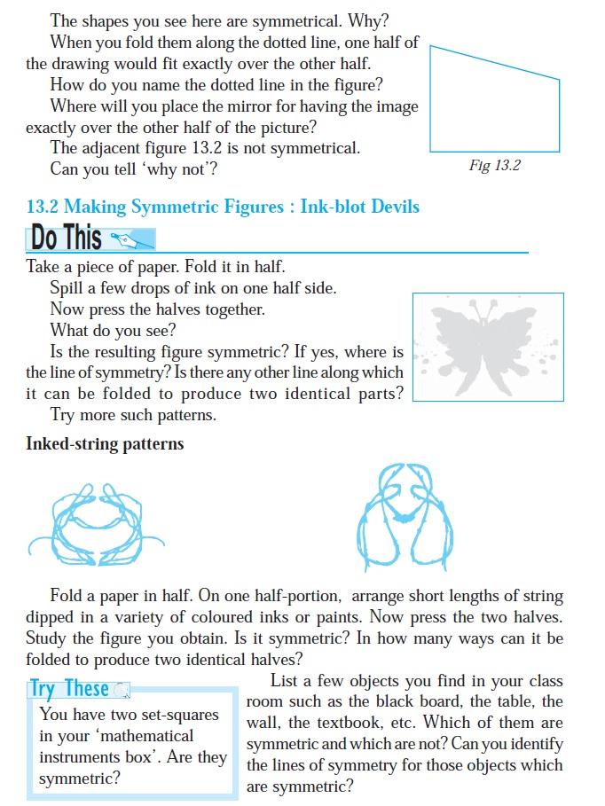 NCERT Class VI Mathematics Chapter 13 Symmetry