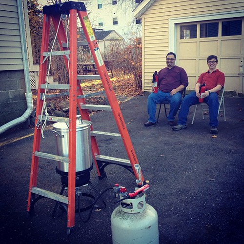 Turkey derek and two fire extinguishers. Happy Thanksgiving!