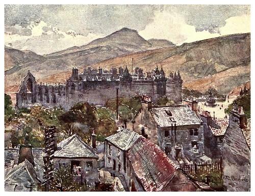 004-Palacio de Holirood desde los jardines publicos-Edinburgh, painted by John Fulleylove- 1904