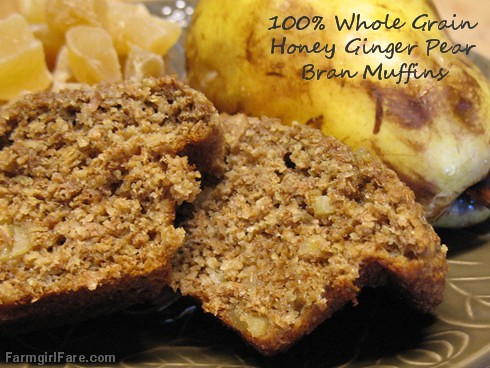 100% whole grain ginger pear bran muffins sweetened with honey