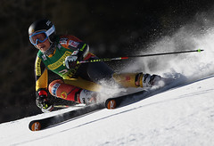 Marie-Pier Préfontaine in action during World Cup giant slalom in Aspen.