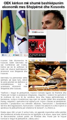 OEK kërkon më shumë bashkëpunim ekonomik mes Shqipërsë dhe Kosovës